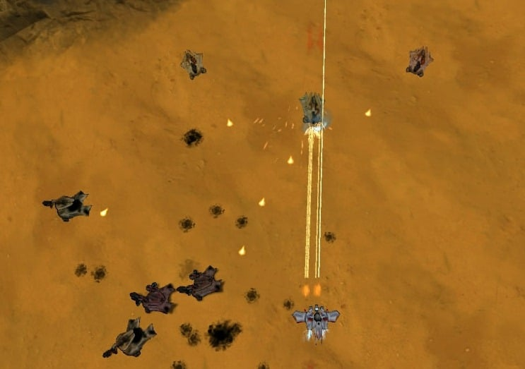 Screenshot of the Flak Cannon in action in Steel Storm.