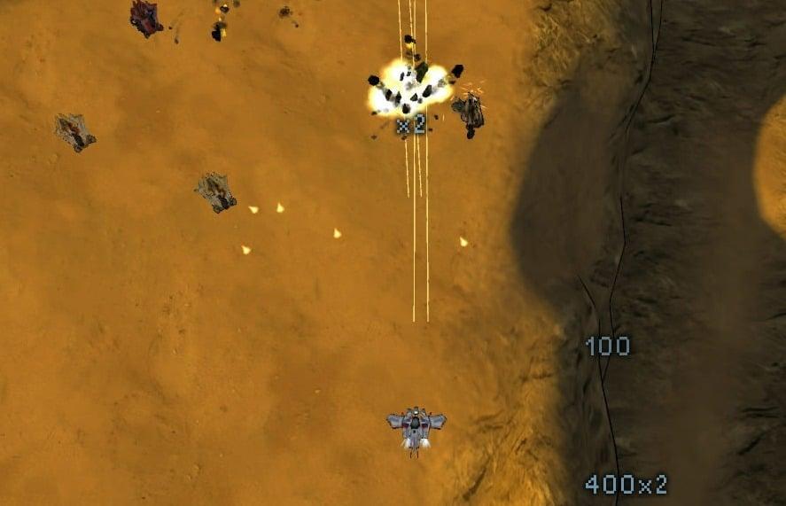 Screenshot of the Minigun in action in Steel Storm.