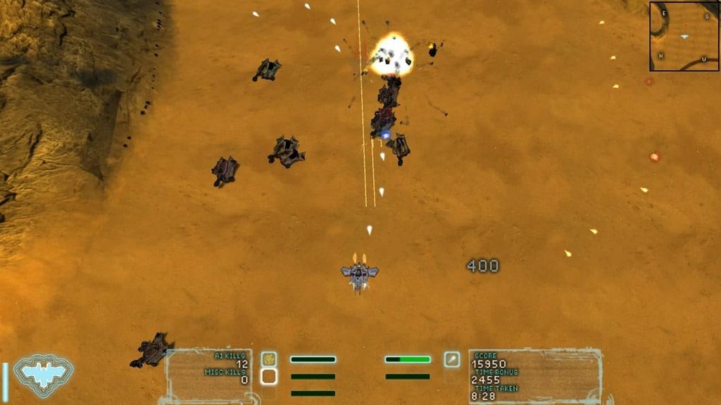 Screenshot of the Storm Plow in action in Steel Storm.